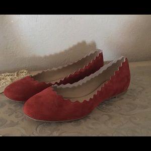Chloe Lauren Scalloped Red Suede Ballet Flats